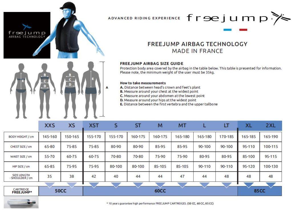 Freejump Airbag maattabel